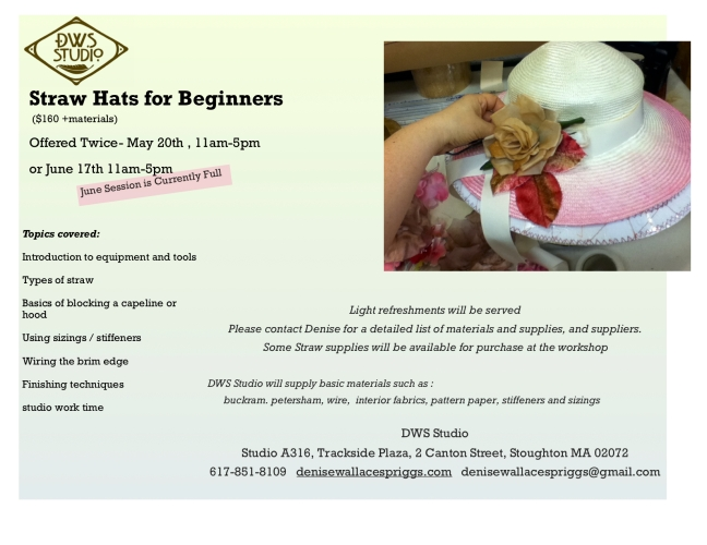 Straw millinery workshop- for beginners promo copy